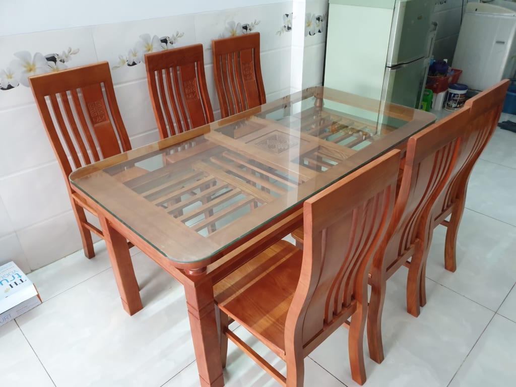 bàn ăn gỗ cũ hải phòng 6 ghế - docuhaiphong.vn